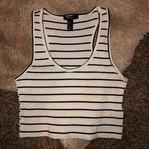 Forever 21 White And Black Striped Crop Top